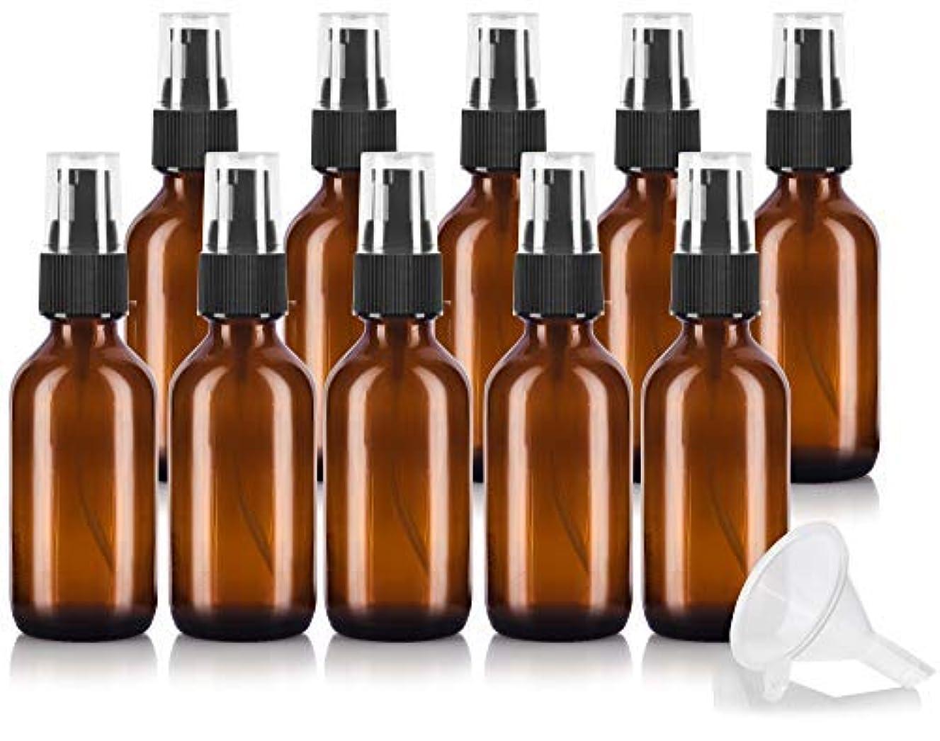 ジェットレジ気をつけて2 oz Amber Glass Boston Round Treatment Pump Bottle (10 pack) + Funnel and Labels for essential oils, aromatherapy, food grade, bpa free [並行輸入品]