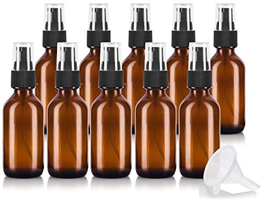 フリル蚊高速道路2 oz Amber Glass Boston Round Treatment Pump Bottle (10 pack) + Funnel and Labels for essential oils, aromatherapy...