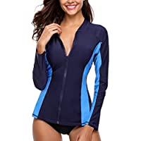 V FOR CITY Women's Long Sleeve Zip-Front Rashguard UPF 50+ Bathing Suits Rash Guard Swimwear UV Swimsuit Top