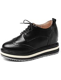 HWF レディースシューズ 春の厚底のプラットフォームシューズ小さなレザーの内側に高め女性の靴英国スタイルのカジュアルシューズ女性 ( 色 : ブラック , サイズ さいず : 38 )