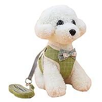 MOMEPE ペット用品 安全ベルトセットソフトメッシュ 丈夫 ハーネス & リード 小型/中型犬/猫用 胴輪 胸あて式 犬の服 ベスト グリッドグリーン S