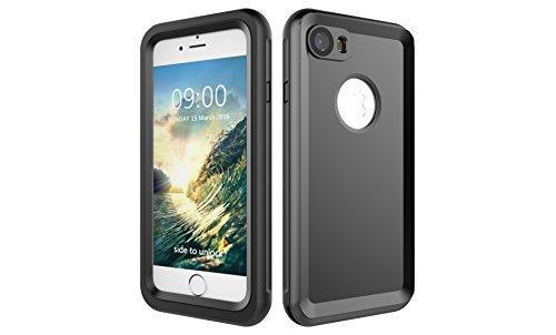 Iphone 7 防水電話ケースは、HBER IP68完全密閉水泳ダイビング水中防塵耐雪性の耐震ヘビーデューティケースカバーは、iphone7のために敏感な画面タッチ指紋認証ロック解除をサポートしています (黒)