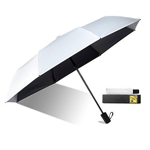 Obolts 折り畳み傘 晴雨兼用 日傘 UVカット 紫外線遮蔽率99% 高密度NC布 耐風撥水 収納ポーチ付き ホワイト