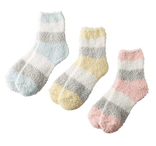 パステル調 もこもこ ふわふわ 靴下 ルームソックス 暖か靴下 あったか 3足組(ピンク・ブルー・イエロー)