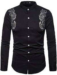 Fly Year-JP メンズロングスリーブ刺繍デザインボタンダウンドレスシャツ
