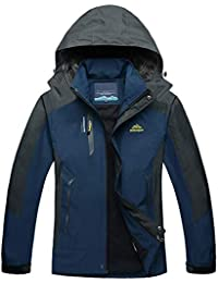 TACVASEN メンズ アウトドア スポーツ フード付き 防風 薄手 ジャケット 防水 レインコート