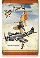 なまけ者雑貨屋 P-47 Eye Candy - Pin-Up Girl ブリキ 看板 レトロ アメリカン 雑貨 ヴィンテージ風