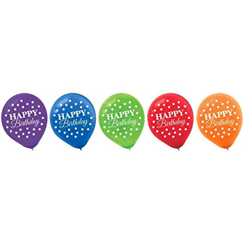 Amscan ラテックス風船プリント マルチカラーコレクション 誕生日