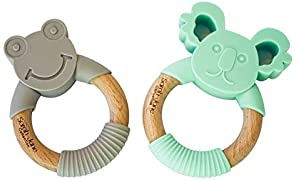Baby Teethers - Set of 2 Teether Rings - by Sarah-Jane Collection - BPA Free Teething Toys, 100% Organic Food grade Natural Silicone - Safe for Your Toddler & Baby - Popular Wooden Silcon Ring Koala & Frog
