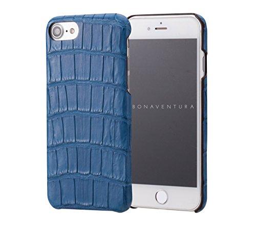 BONAVENTURA ボナベンチュラ iPhone 7 本革 Croco back cover case クロコダイル アイフォンケース 全4色 (ブルー)