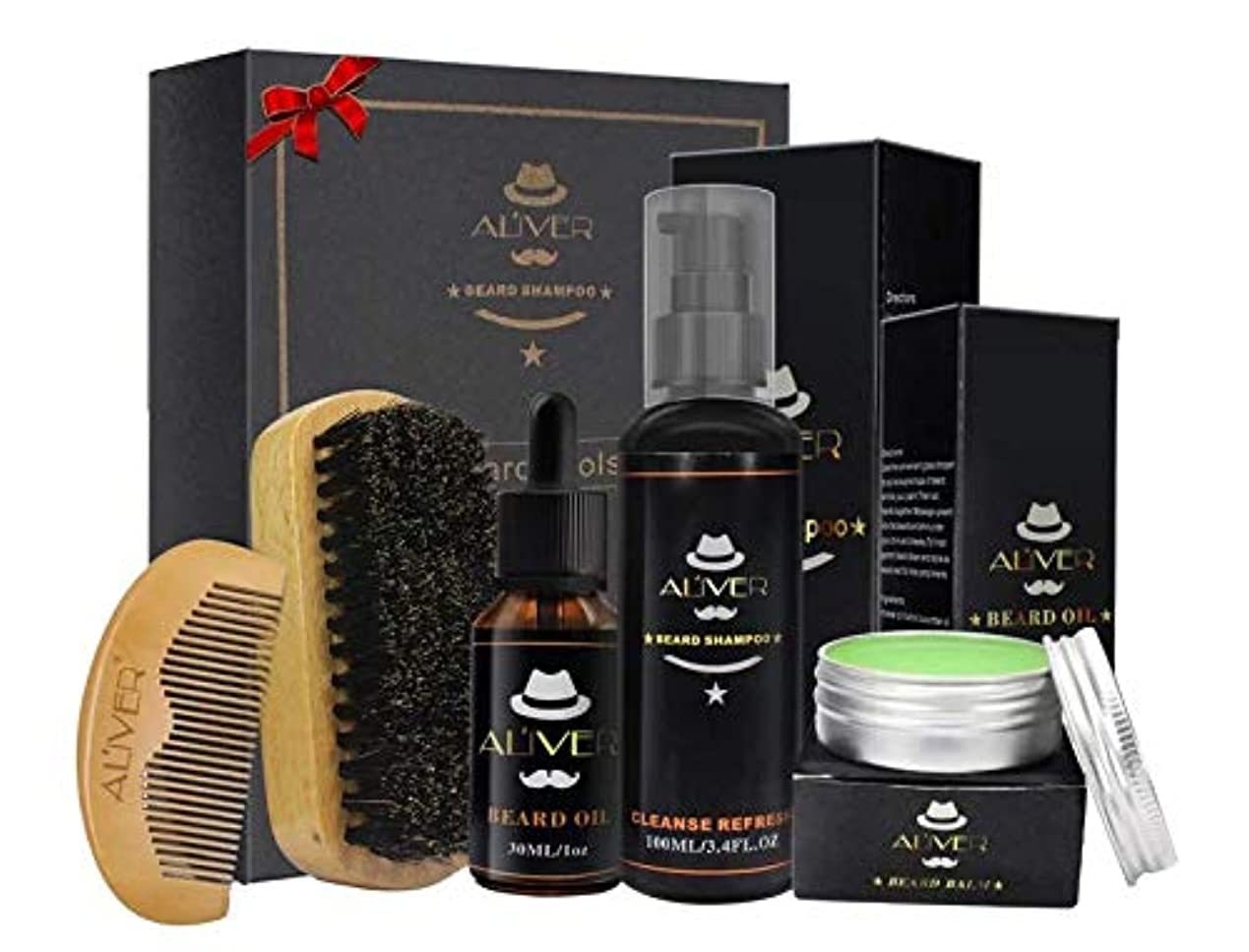 パンツ補う詳細なSet of 5 - Beard & Moustache Kit With For Men (30ml Beard Oil + 100ml Beard Shampoo + 2pcs Beard Brushes + 30gr...