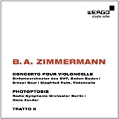B.A.ツィンマーマン: 作品集 (B.A.Zimmermann: WORKS - Concerto Pour Violoncelle, Photoptosis, Tratto II / Ernest Bour, Hans Zender) [輸入盤]