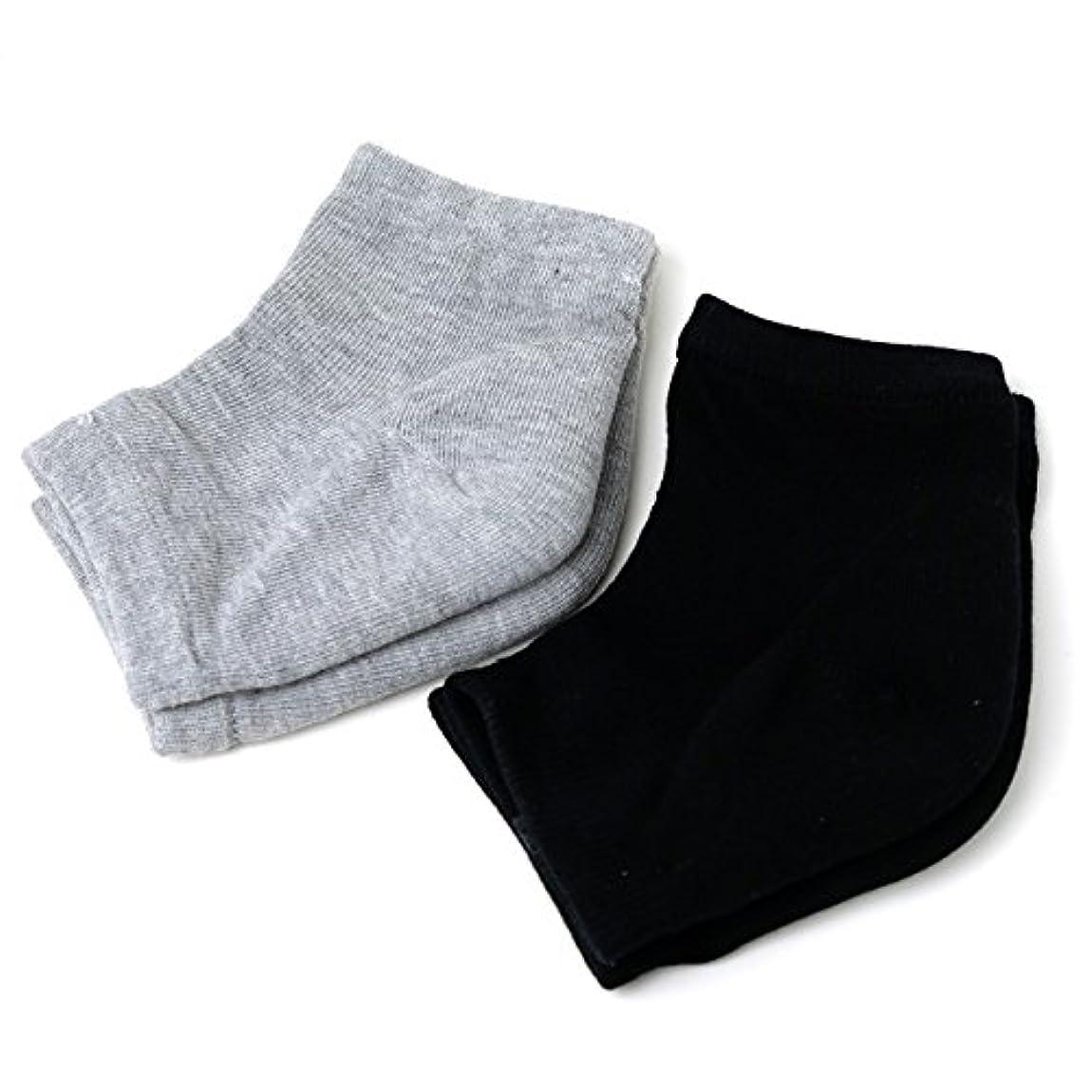 非常に受動的慣習Banane D'or かかと 靴下 ソックス セット (黒×1 グレー×1)