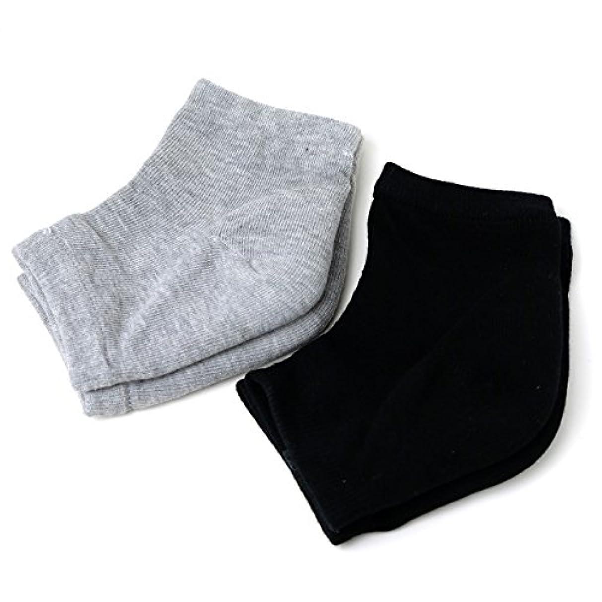 見落とす因子対Banane D'or かかと 靴下 ソックス セット (黒×1 グレー×1)