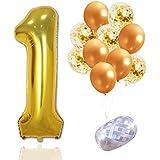 SAKOLLA 大きな数字の1マイラーホイルバルーンとゴールドの紙吹雪ラテックスバルーン 紐付き 1歳の誕生日パーティーデコレーション 婚約 記念日 ベビーシャワー 結婚式 初めての誕生日パーティー用品