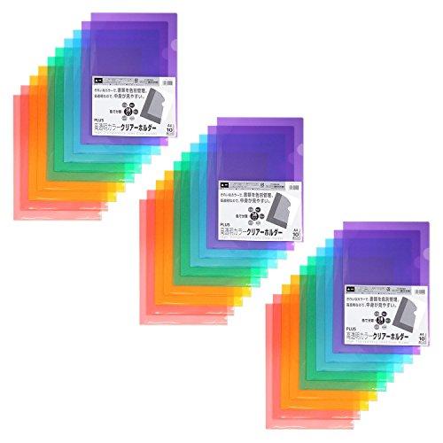 プラス クリアホルダー A4 30枚 パック5色×6枚 高透明カラー 80-160×3