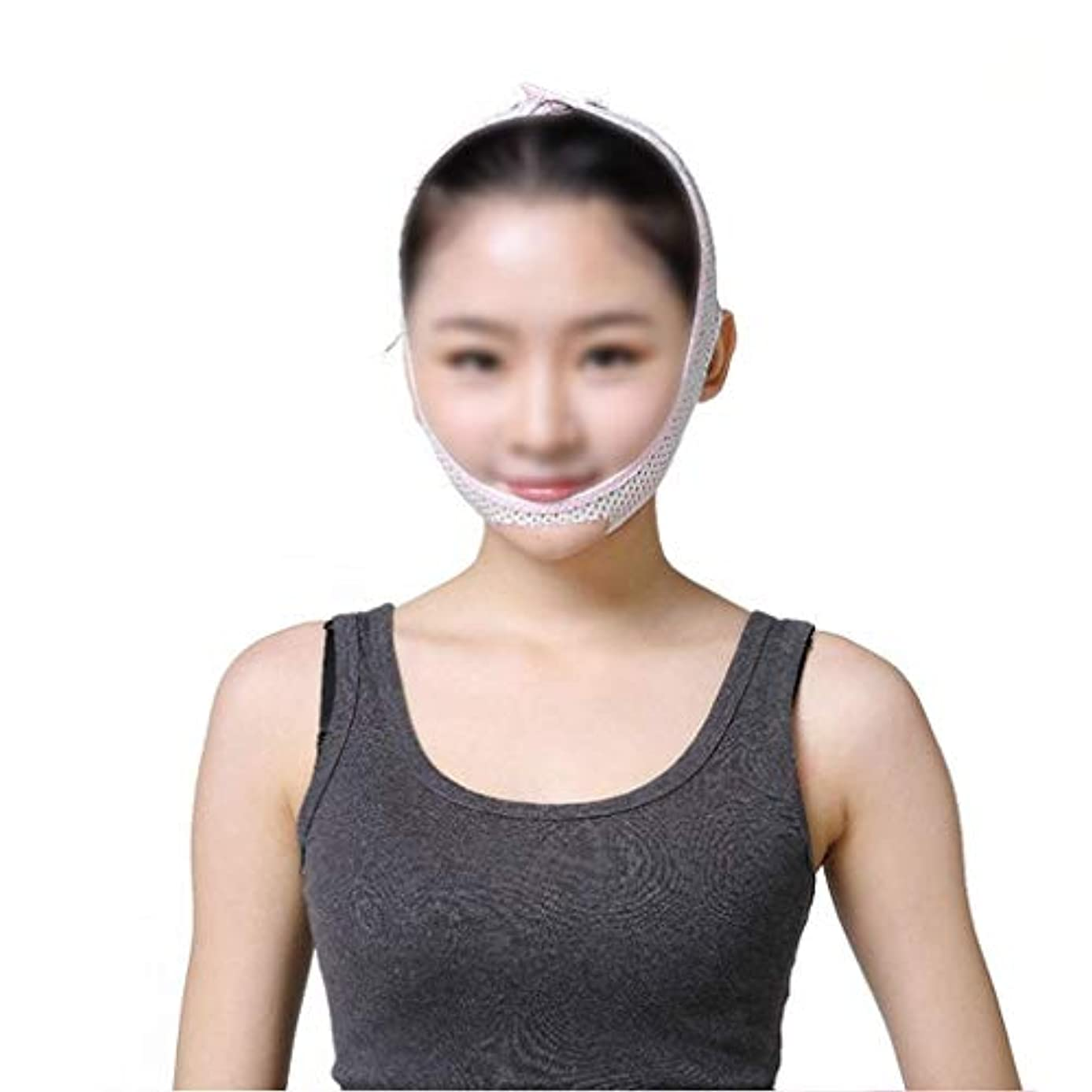ネクタイペントロリーバスフェイスリフティングマスク、快適で リフティングスキンファーミングスリープシンフェイスアーティファクトアンチリンクル/リムーブダブルチン/術後回復マスク(サイズ:M)