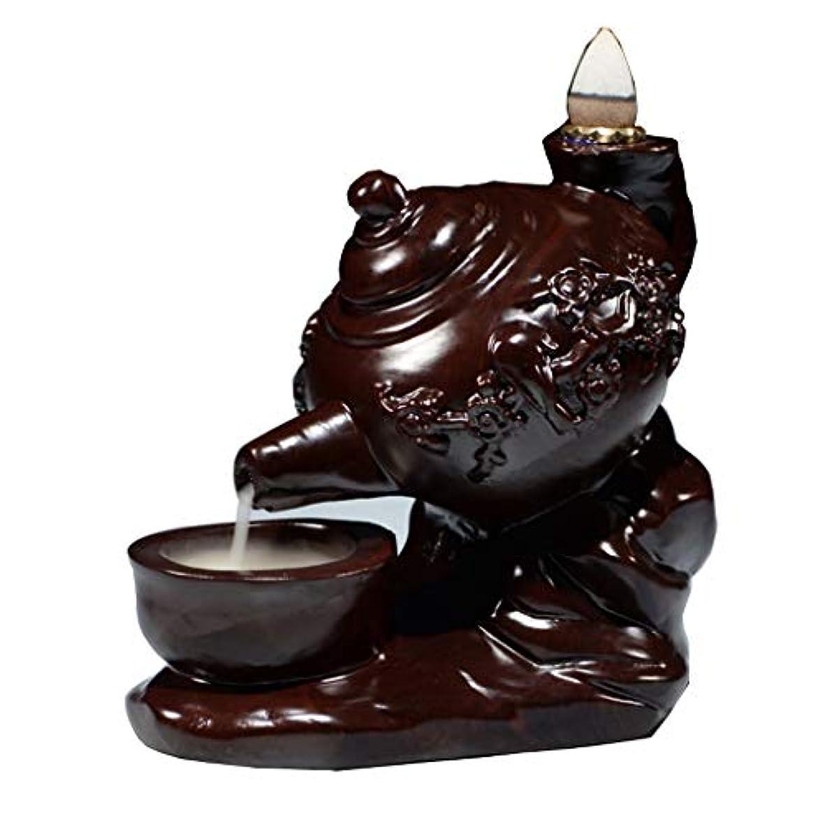 誰しなやかな立派なホームアロマバーナー 黒檀のティーポットバック香バーナー装飾クリエイティブマホガニーホーム屋内茶道香炉バーナービャクダン アロマバーナー