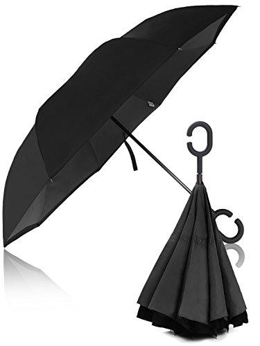 【 大きい 逆折り式傘 メンズ レディース 子供 】 Hizak 逆さ傘 逆開き UVカット 撥水 耐風 逆さま 濡れない 「 日傘 ビジネス 車 逆折 長傘 」「 自立可能 二重生地 」「 晴雨兼用 逆おり 」「 124センチ 逆 傘 」 6カラー (ブラック)