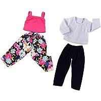 SONONIA 2セット かわいい Tシャツ タンク トップズ パンツ ズボン 18インチアメリカガールドール用 ドレスアップ
