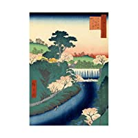 Painting Japanese Woodblock River Bathing Waterfall Framed Wall Art Print ペインティング日本人木材川水壁