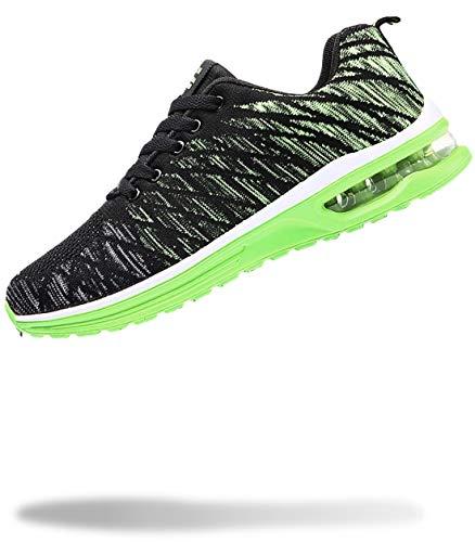 [50dB] エアライト メンズ スニーカー 軽量 運動靴 くつ シューズ ジム トレーニング (イエローグリーン 27.0cm)