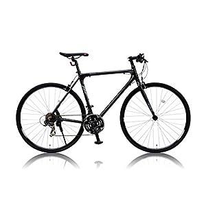 カノーバー クロスバイク 700C シマノ21段変速 CAC-021 (VENUS) 特殊加工 アルミフレーム フロントLEDライト付 ブラック