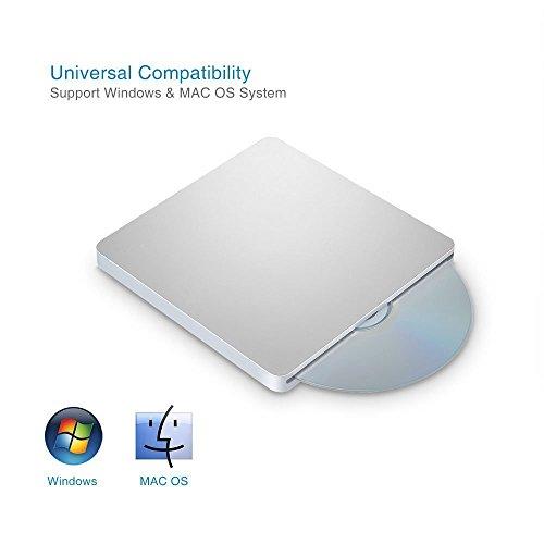Blingco 外付けDVDドライブ USB2.0 超薄型 CD-R CD-ROM CD-RW DVD-R DVD+R DVD-RAM DVD-RW DVD+RW ポータブル光学式スロットイン外付けCD DVDドライブ CD/DVD読み込み、書き込み両方可 Windows XP/Vista/7/8.1/10 Mac OS(全てのバーション)対応可 Macbook Air/Pro iMac/iMac Pro Windows ノートパソコン ラップトップ PCに適合 シルバー