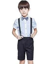 Emfay 男の子 子供服 チェック柄 フォーマル スーツ 半袖 靴下 サスペンダー付き 入学式 結婚式 5点セット