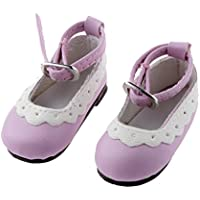 【ノーブランド品】 1/4 BJD 人形 靴 シューズ ラウンド トウ フラット アンクル ストラップ アクセサリー 贈り物 全10色  - ライトパープル