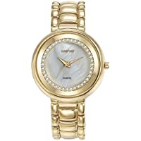 Mestige Lewis Watch In Gold with Swarovski® Crystals (Gold) Gifts Women Girls, Metal Band, Pearl