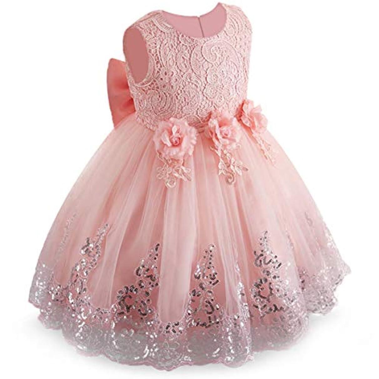 バルコニースカリー流すエビピンクの赤ちゃん女の子フラワーレースグレナディンバブルスカート子供プリンセスチュールドレスノースリーブワンピースドレスパーティードレス-エビピンク-120 cm