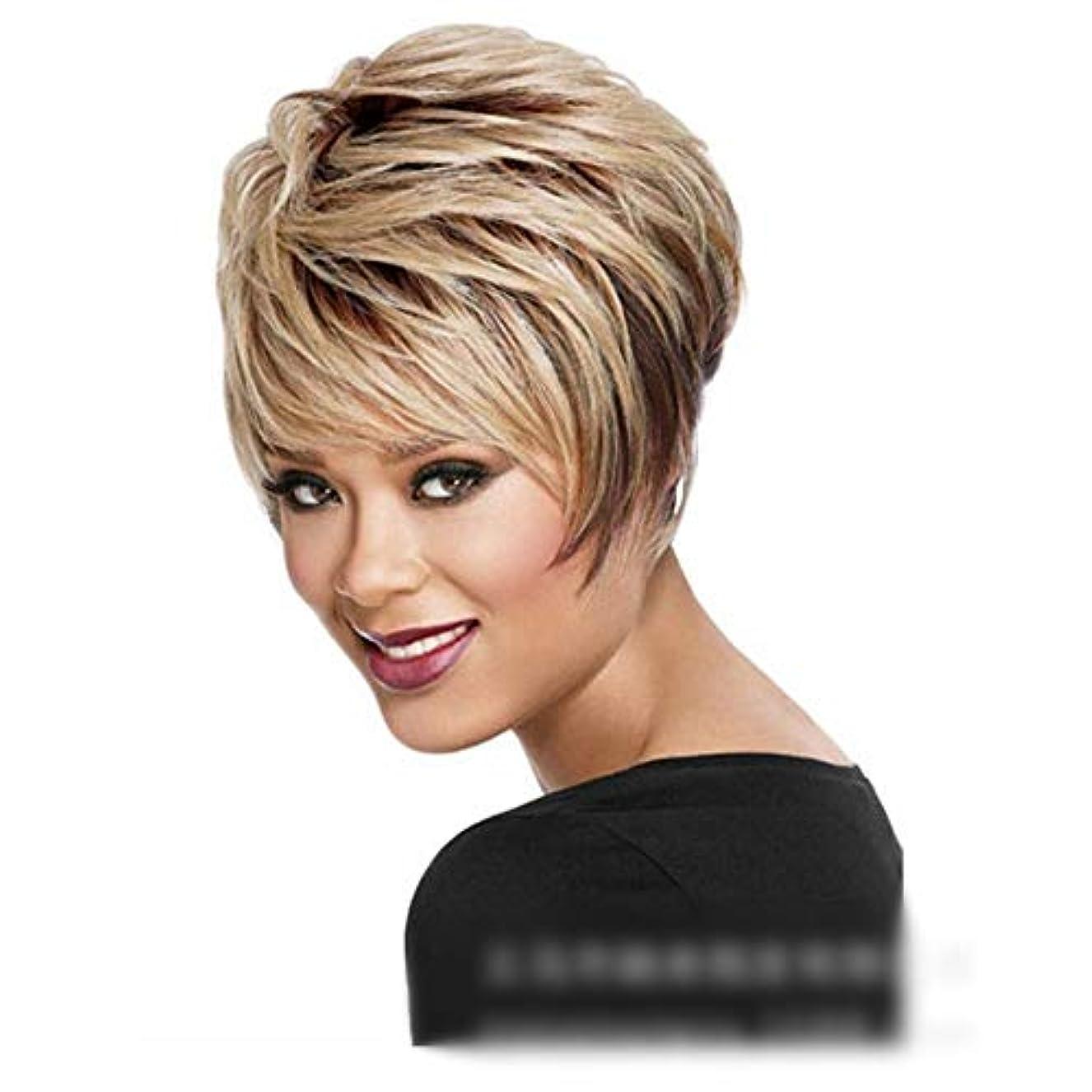 許容説教ピザYOUQIU 女性のかつらのためにブロンドのかつらふわふわショートカーリーヘアナチュラル人工毛 (色 : Blonde)