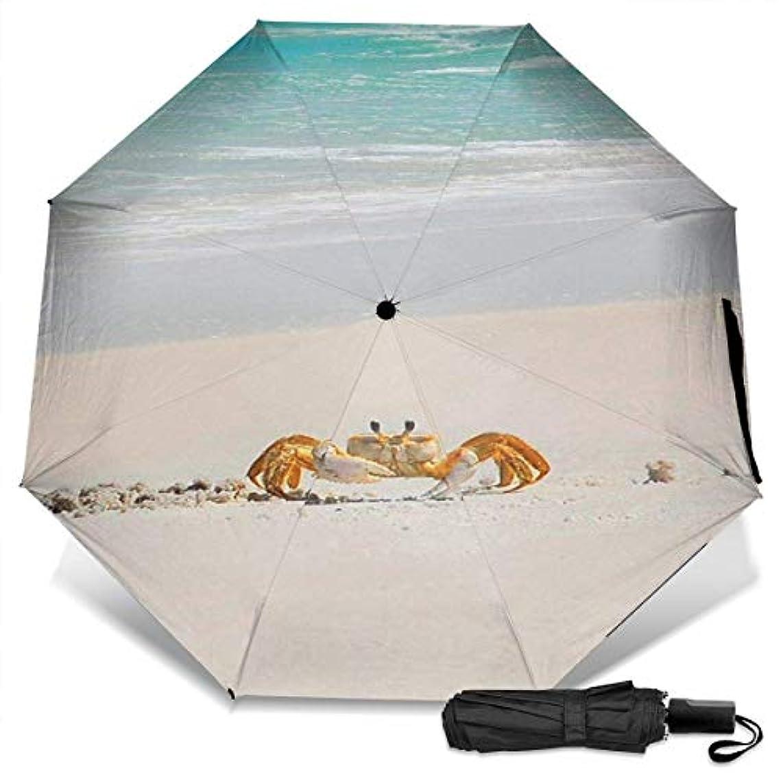 自発離れてプーノ美しいビーチを歩いてかわいいカニ折りたたみ傘 軽量 手動三つ折り傘 日傘 耐風撥水 晴雨兼用 遮光遮熱 紫外線対策 携帯用かさ 出張旅行通勤 女性と男性用 (黒ゴム)