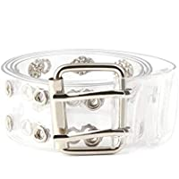 Fashion Double Grommet PVC Transparent Clear Holographic Waist Belt with Heart Square Buckle for Women Girls