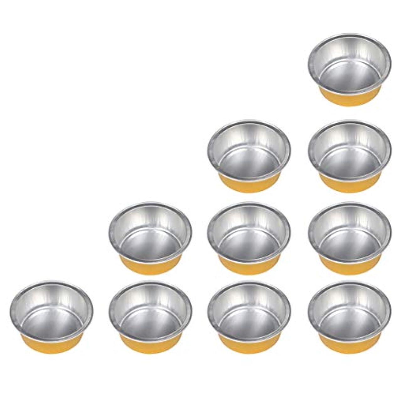 タップ航空機器具アルミホイルボウル 脱毛 毛除去 10個セット ミニ ワックス豆体 融解 2種選ぶ - ゴールデン1, 01