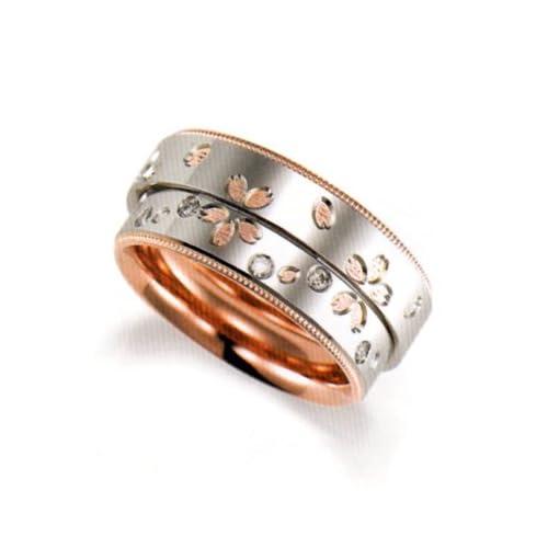 結婚指輪 マリッジリング プラチナ 2本セット ペアリング カップル ペア ダイヤモンド リング 桜 さくら サクラ フラワー お花 指輪 地金リング レディース リング プラチナ Pt