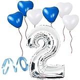 誕生日パーティー  飾り付けセット シルバー38センチ 数字(2) 天然ゴム 風船セット(ts-t02)