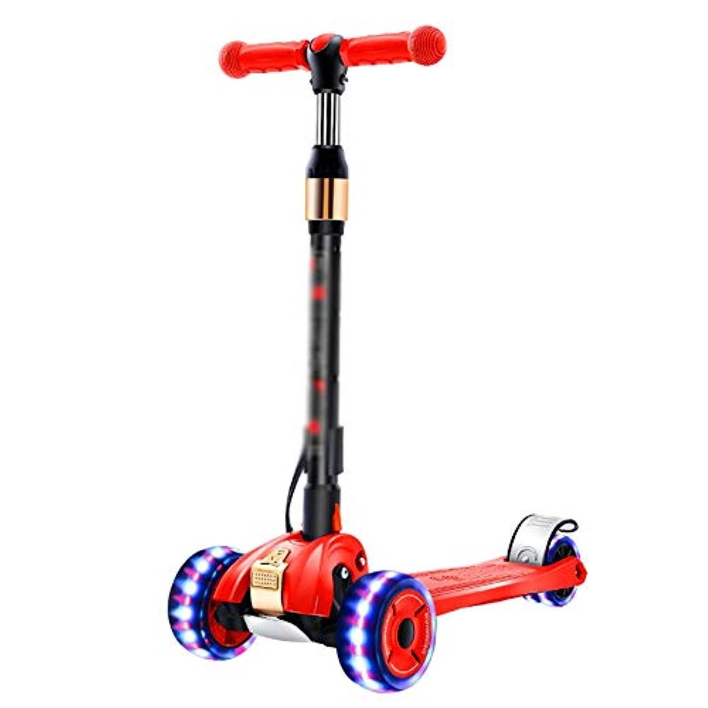 CQILONG スクーター 3輪スクーター チルトトゥターンステアリングシステム Pu 4 LEDライトアップホイール エクストラワイドデッキ 女の子向け 最高の贈り物 6色 (Color : Red, Size : 63x30x65-85cm)
