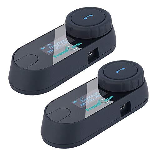 Freedconn バイク用 インカム ヘルメットに装着 Bluetooth 防水 インターコム 800M LCDスクリーン付き 2人同時通話 3Riders FMラジオ搭載 ソフトタイプケーブル 2台セット 技適認証取り済み