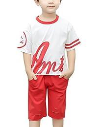 ZKKK  ボーイズ夏服 セットアップ  子供Tシャツ 幼児パンツ スポーツ2点セット カジュアル 半袖 活動 通学 弾力ハーフパンツ ファッション ラウンドネック 男の子ショートパンツ プリントブラウス
