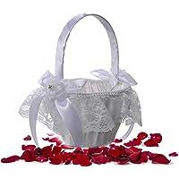 【Cheng-store】洋風の結婚式 ブライダルレースハンドバスケット 小さな弓のバスケット 結婚式パーティー用品(ホワイト)