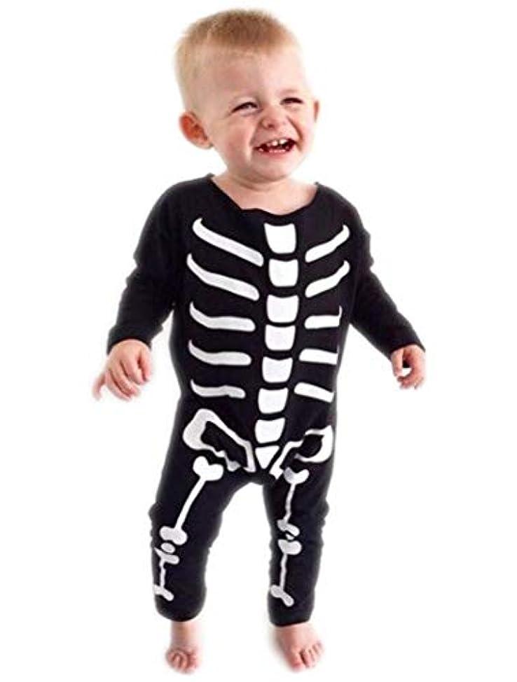 敬礼びっくりする見つけたARABOYO 赤ちゃん ロンパース 長袖 ラウンドネック 骷髅 骨 ハロウィン仮装 柔らか コスチューム 公演 冬(3-18ヶ月用)