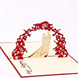 BEESCLOVER 3D Bride and Groom Handmade Pop Up Greeting Cards Wedding Card Anniversary Invitation Card Paper Crafts 3pcs/lot as Picture Show One Size