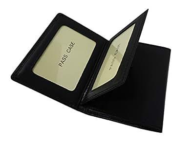 650bk  3面パスケース 免許証ケース 中ベラ付き 牛革 定期入れ (ブラック)