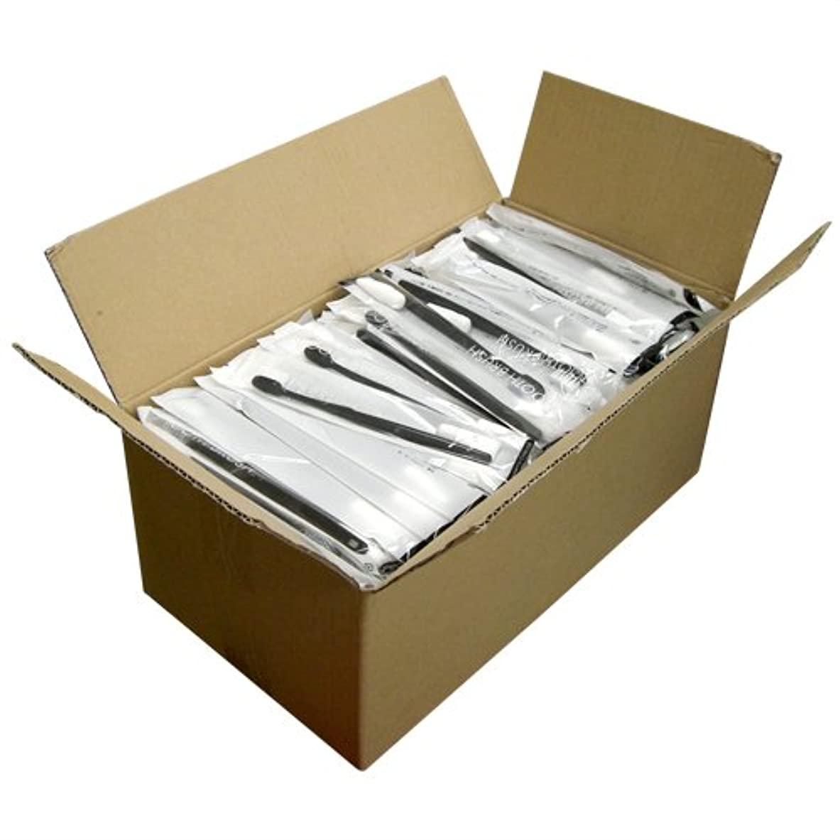 センターレタスリハーサル業務用 使い捨て歯ブラシ チューブ歯磨き粉(3g)付き ブラック 250本(1ケース)セット│ホテルアメニティ 個包装タイプ