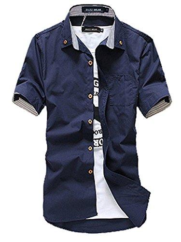 BUZZ WEAR [バズ ウェア] カジュアルシャツ メンズ ワイシャツ 半袖 無地 ロールアップ トップス コーデ 黒 青 紺 白 春 夏 秋 メンズファッション XL ネイビー