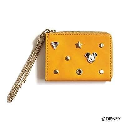 ミッキーマウス ビンズパスケース パスケース レディース ディズニー DISNEY Accommode アコモデ 小物 チェーンつき スタッズ ワンサイズ イエロー