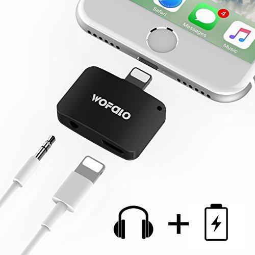 Wofalo iPhone7/7 plus 2in1イヤホン変換アダプターライトニングポート3.5mm端子 イヤホンジャック Lightning充電口付き iOS 10.3対応でき (ブラック)