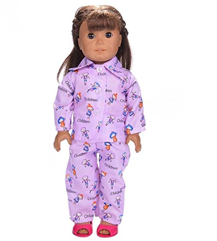 HuaQingPiJu-JP 18インチアメリカ人形パジャマ(パープル)